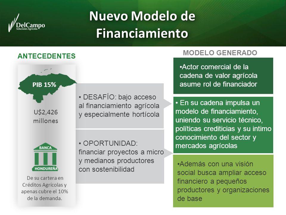Nuevo Modelo de Financiamiento OPORTUNIDAD: financiar proyectos a micro y medianos productores con sostenibilidad Actor comercial de la cadena de valo