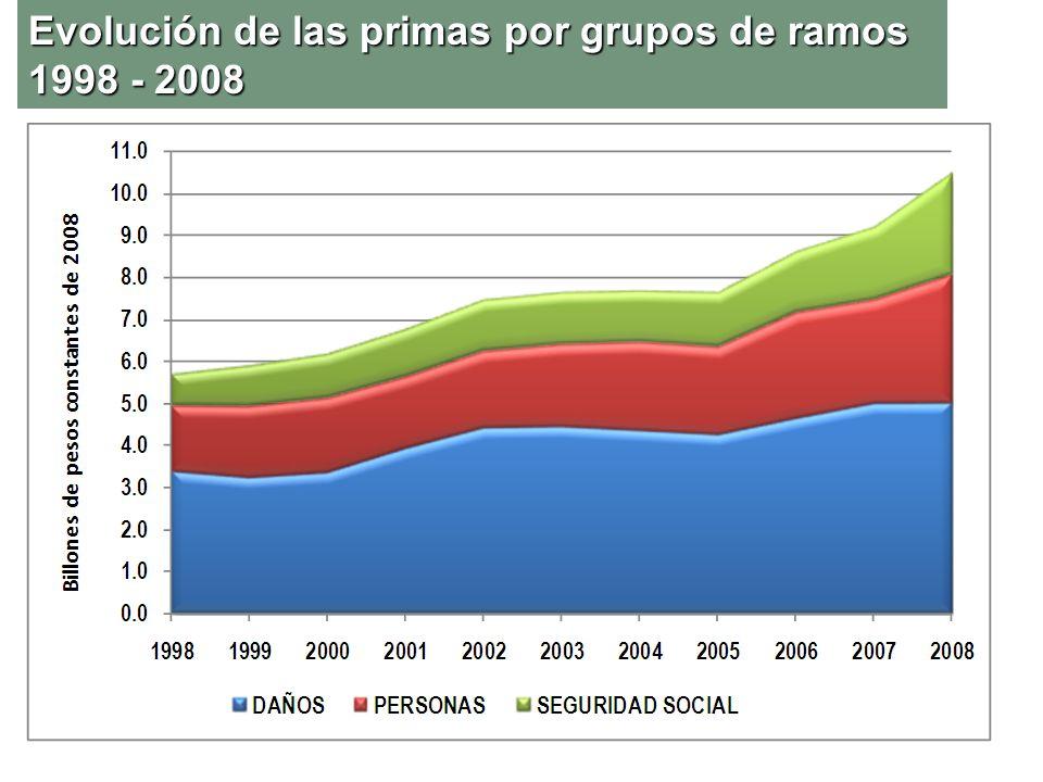 Evolución de las primas por grupos de ramos 1998 - 2008