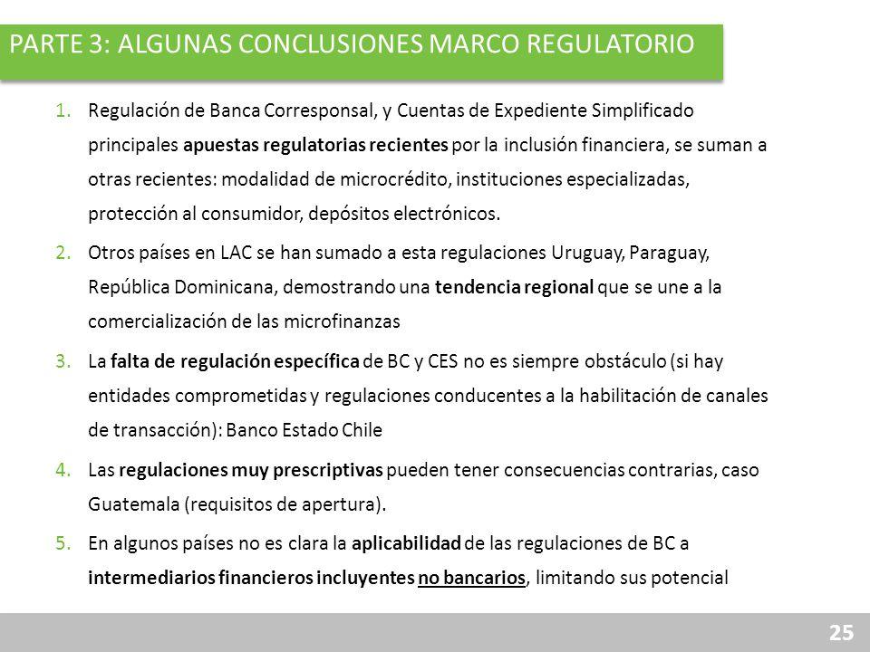 25 PARTE 3: ALGUNAS CONCLUSIONES MARCO REGULATORIO 1.Regulación de Banca Corresponsal, y Cuentas de Expediente Simplificado principales apuestas regul