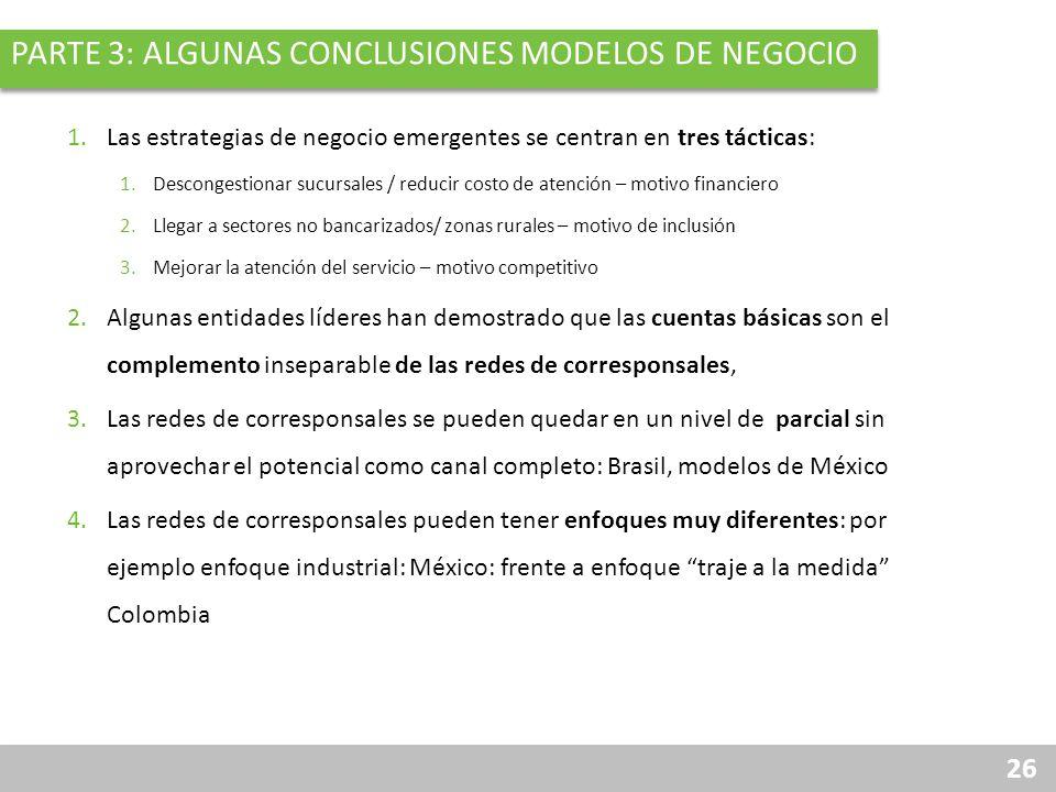 26 PARTE 3: ALGUNAS CONCLUSIONES MODELOS DE NEGOCIO 1.Las estrategias de negocio emergentes se centran en tres tácticas: 1.Descongestionar sucursales