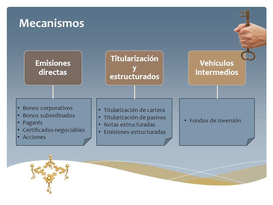 Mecanismos Titularización de cartera Titularización de pasivos Notas estructuradas Emisiones estructuradas Fondos de Inversión Bonos corporativos Bono