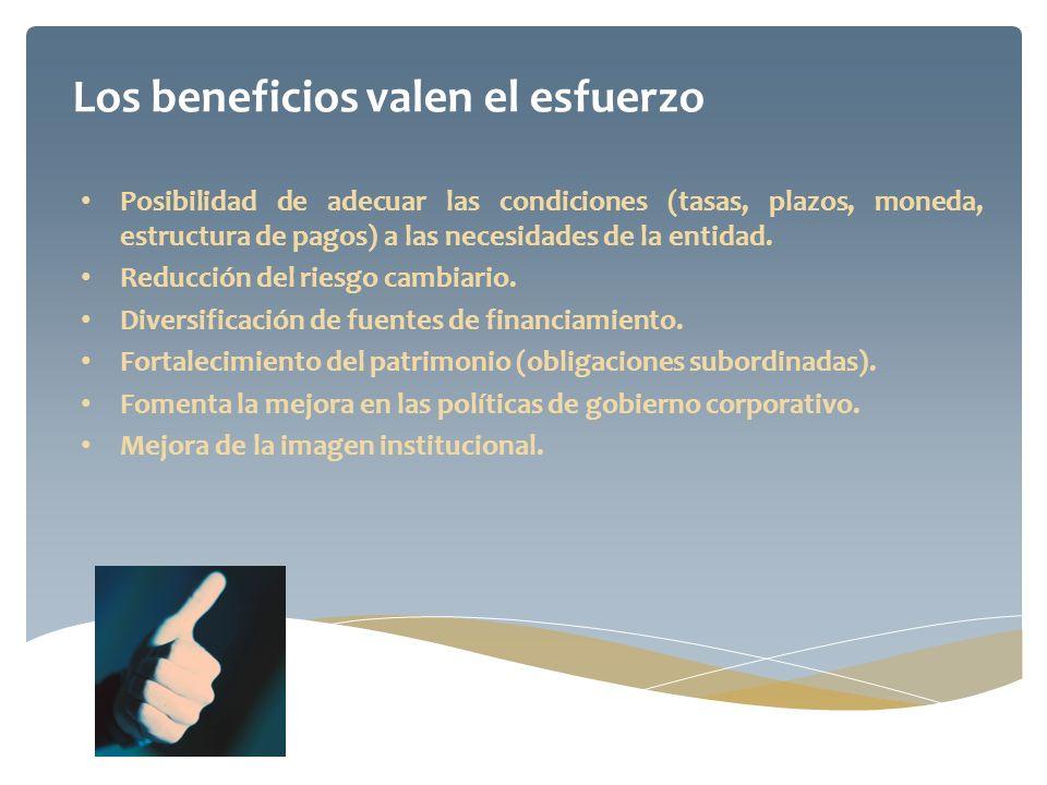 Posibilidad de adecuar las condiciones (tasas, plazos, moneda, estructura de pagos) a las necesidades de la entidad. Reducción del riesgo cambiario. D