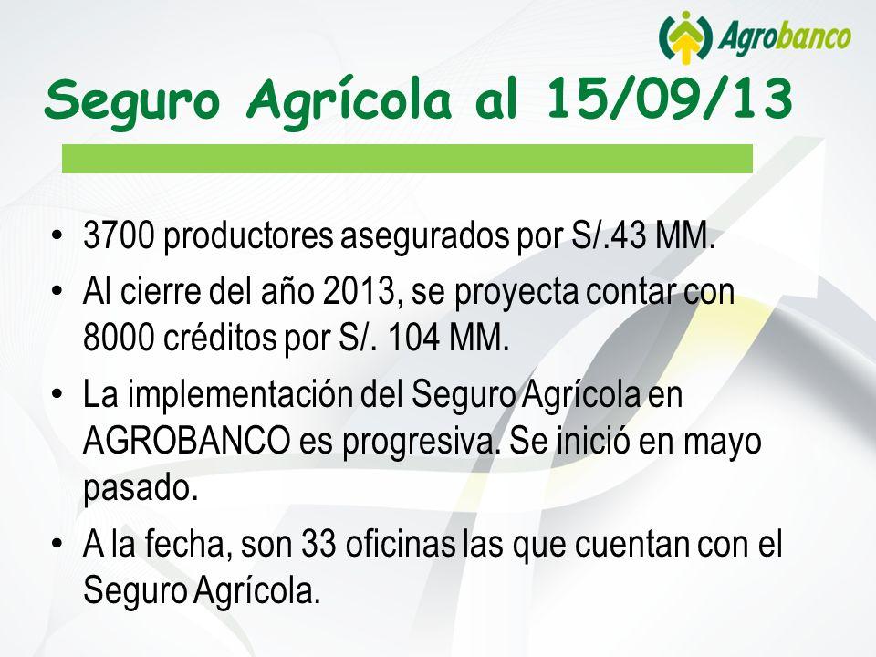 Seguro Agrícola al 15/09/13 3700 productores asegurados por S/.43 MM. Al cierre del año 2013, se proyecta contar con 8000 créditos por S/. 104 MM. La