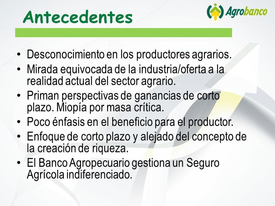 Antecedentes Desconocimiento en los productores agrarios.