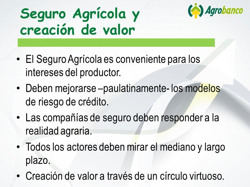 Seguro Agrícola y creación de valor El Seguro Agrícola es conveniente para los intereses del productor. Deben mejorarse –paulatinamente- los modelos d