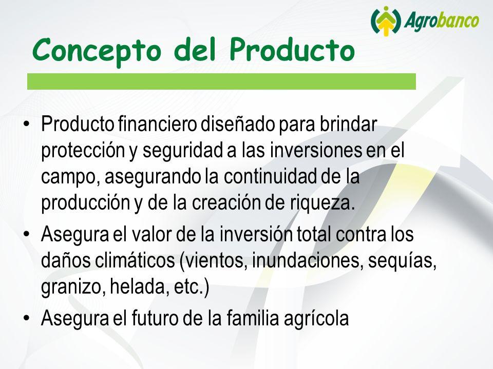 Concepto del Producto Producto financiero diseñado para brindar protección y seguridad a las inversiones en el campo, asegurando la continuidad de la producción y de la creación de riqueza.