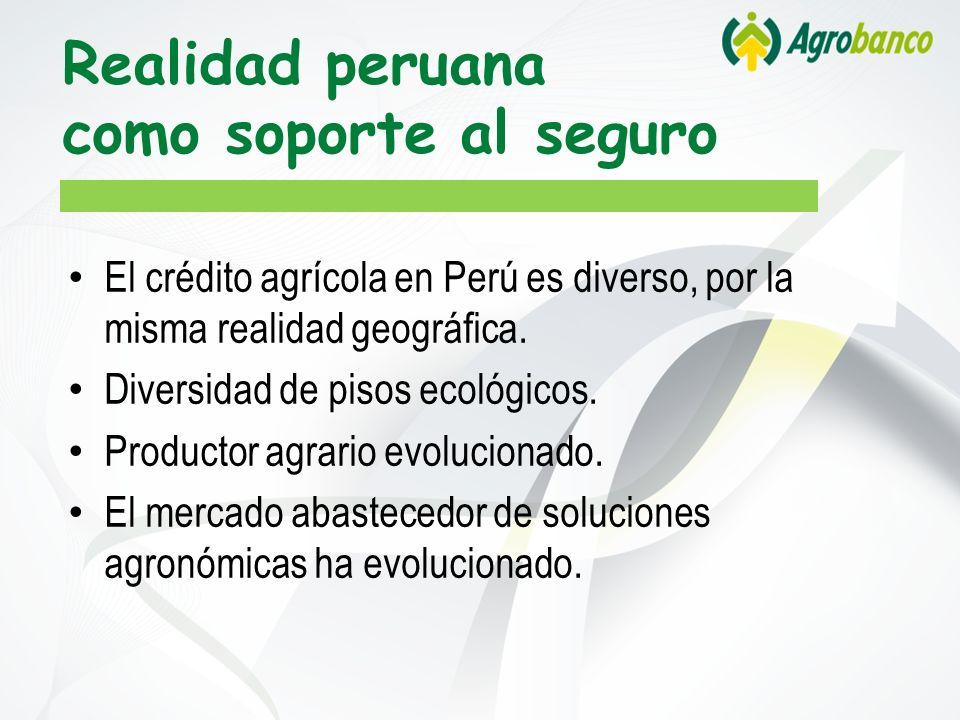 Realidad peruana como soporte al seguro El crédito agrícola en Perú es diverso, por la misma realidad geográfica. Diversidad de pisos ecológicos. Prod