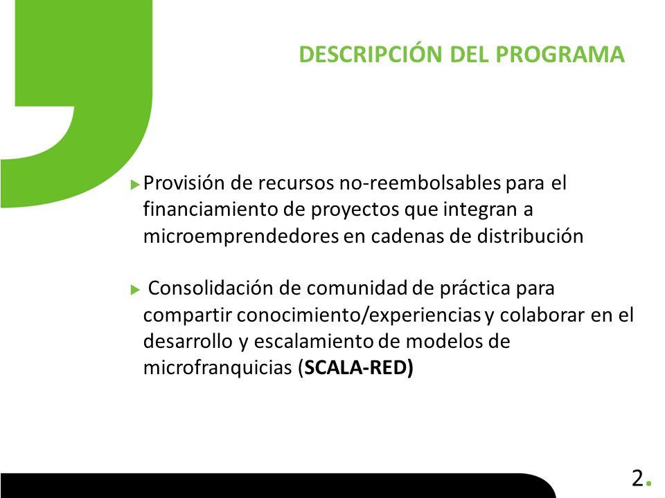 2.2. Provisión de recursos no-reembolsables para el financiamiento de proyectos que integran a microemprendedores en cadenas de distribución Consolida