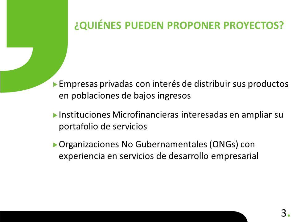 3.3. Empresas privadas con interés de distribuir sus productos en poblaciones de bajos ingresos Instituciones Microfinancieras interesadas en ampliar