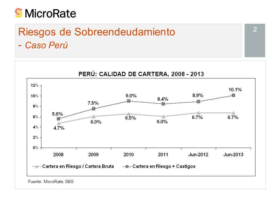 2 Riesgos de Sobreendeudamiento - Caso Perú Fuente: MicroRate, SBS PERÚ: CALIDAD DE CARTERA, 2008 - 2013