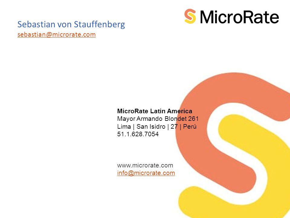 MicroRate Latin America Mayor Armando Blondet 261 Lima | San Isidro | 27 | Perú 51.1.628.7054 www.microrate.com info@microrate.com Sebastian von Stauffenberg sebastian@microrate.com