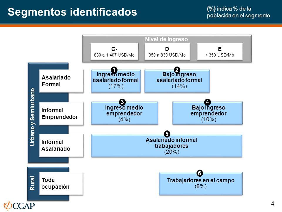 Segmentos identificados Asalariado Formal Informal Asalariado Urbano y Semiurbano Rural Toda ocupación Informal Emprendedor Trabajadores en el campo (8%) Trabajadores en el campo (8%) Nivel de ingreso Ingreso medio asalariado formal (17%) Asalariado informal trabajadores (20%) Ingreso medio emprendedor (4%) Bajo ingreso emprendedor (10%) Bajo ingreso asalariado formal (14%) C- 830 a 1,407 USD/Mo C- 830 a 1,407 USD/Mo D 350 a 830 USD/Mo D 350 a 830 USD/Mo E < 350 USD/Mo E < 350 USD/Mo 12 5 6 34 (%) indica % de la población en el segmento 4