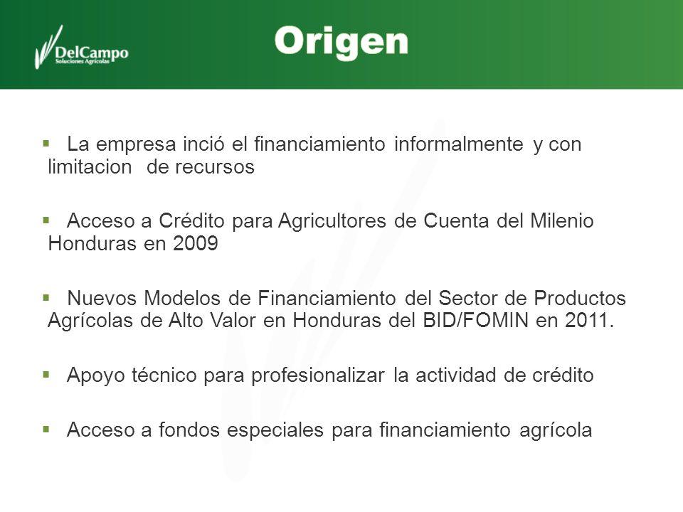 La empresa inció el financiamiento informalmente y con limitacion de recursos Acceso a Crédito para Agricultores de Cuenta del Milenio Honduras en 200