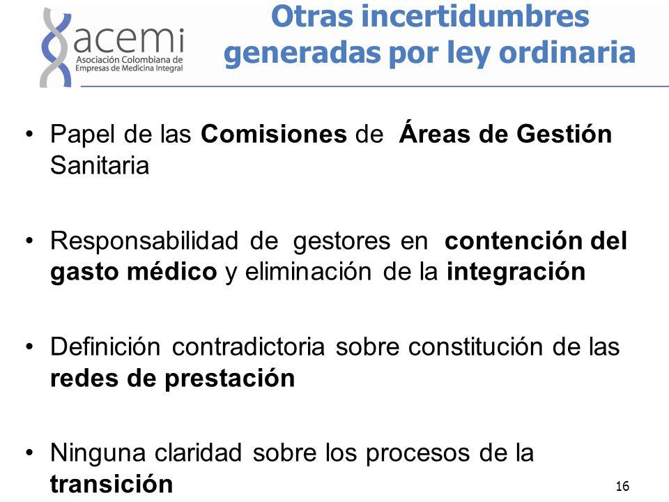 Otras incertidumbres generadas por ley ordinaria Papel de las Comisiones de Áreas de Gestión Sanitaria Responsabilidad de gestores en contención del g
