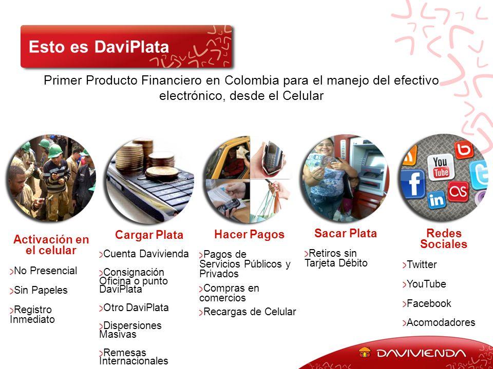 Primer Producto Financiero en Colombia para el manejo del efectivo electrónico, desde el Celular Esto es DaviPlata Cargar Plata Cuenta Davivienda Cons