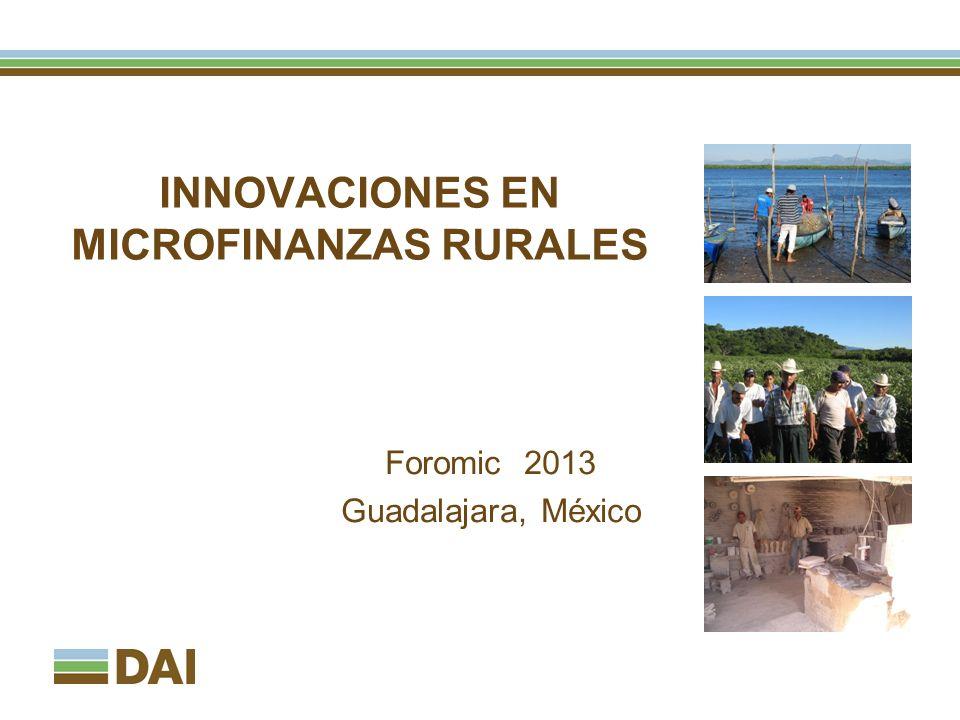 INNOVACIONES EN MICROFINANZAS RURALES Foromic 2013 Guadalajara, México