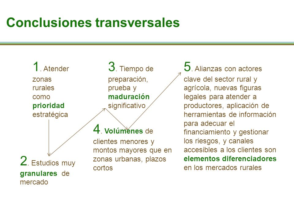 Conclusiones transversales 1. Atender zonas rurales como prioridad estratégica 2.