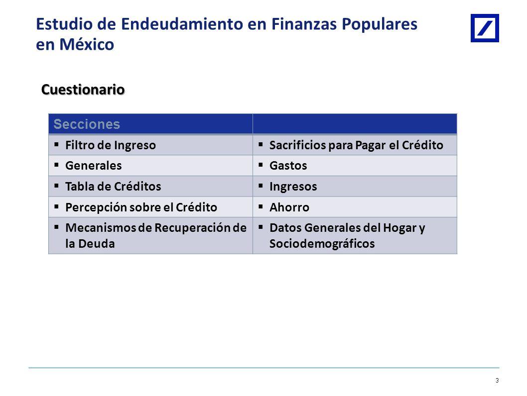 Deutsche Bank 2 1/8/2014 10:28:09 AM2010 DB Blue template Estudio de Endeudamiento en Finanzas Populares en México Estructura del Estudio Marco Muestr