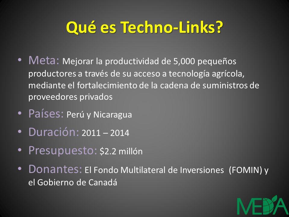 Fondo de donaciones competitivo Co-financiamiento (1:1) hasta $60,000 Enfoque de Techno-Links 1.