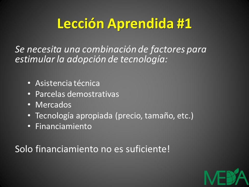 Lección Aprendida #1 Se necesita una combinación de factores para estimular la adopción de tecnología: Asistencia técnica Parcelas demostrativas Merca