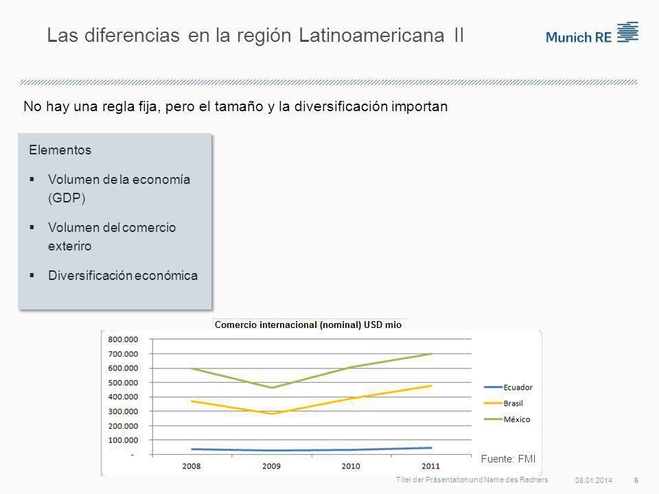 No hay una regla fija, pero el tamaño y la diversificación importan 08.01.2014 6 Titel der Präsentation und Name des Redners Las diferencias en la región Latinoamericana II Fuente: FMI