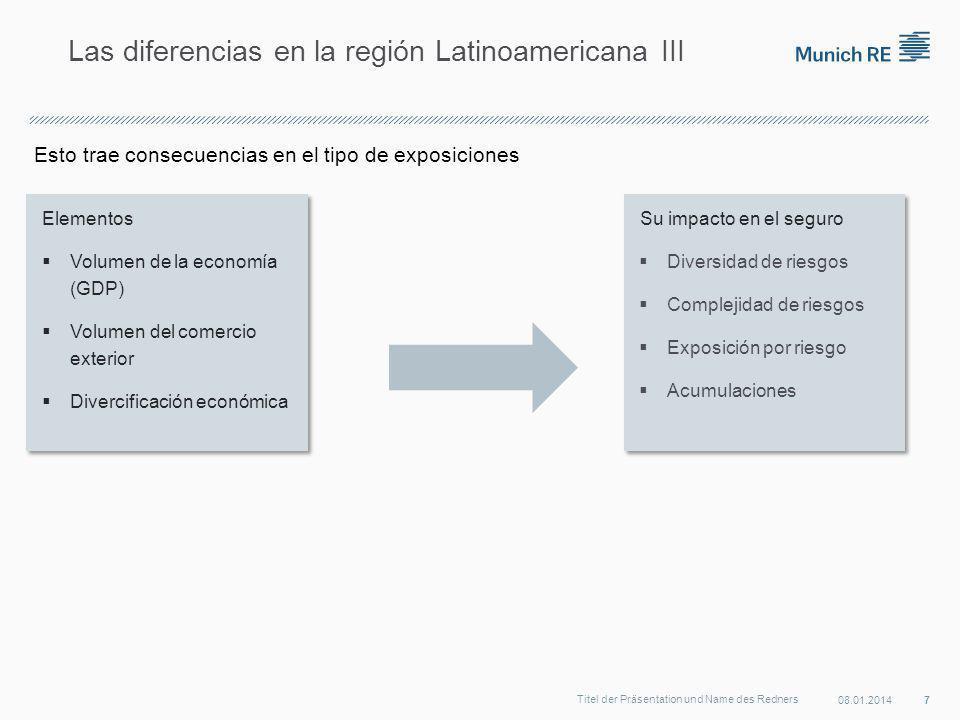 Esto trae consecuencias en el tipo de exposiciones 08.01.2014 7 Titel der Präsentation und Name des Redners Las diferencias en la región Latinoamericana III