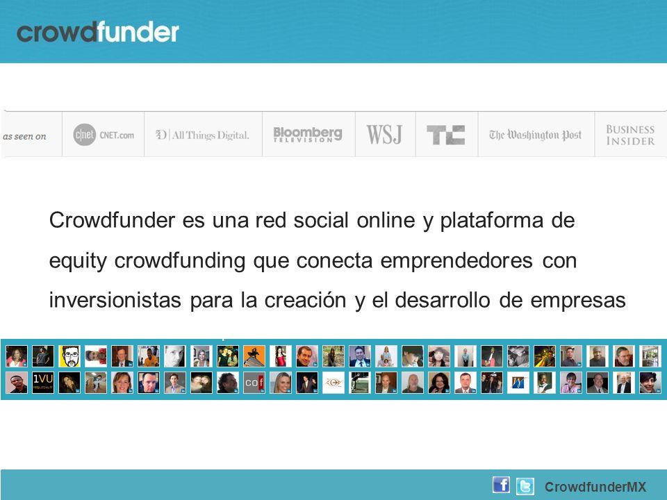 Crowdfunder es una red social online y plataforma de equity crowdfunding que conecta emprendedores con inversionistas para la creación y el desarrollo