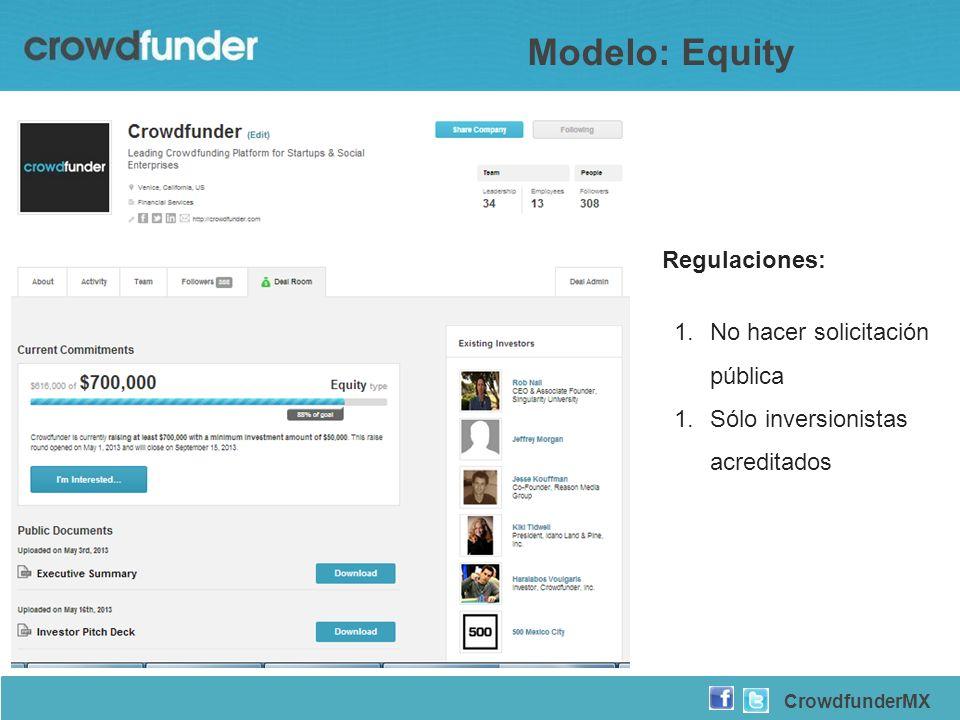 Regulaciones: 1.No hacer solicitación pública 1.Sólo inversionistas acreditados CrowdfunderMX Modelo: Equity