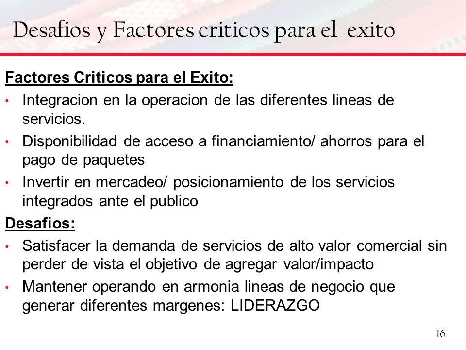 Desafios y Factores criticos para el exito Factores Criticos para el Exito: Integracion en la operacion de las diferentes lineas de servicios. Disponi