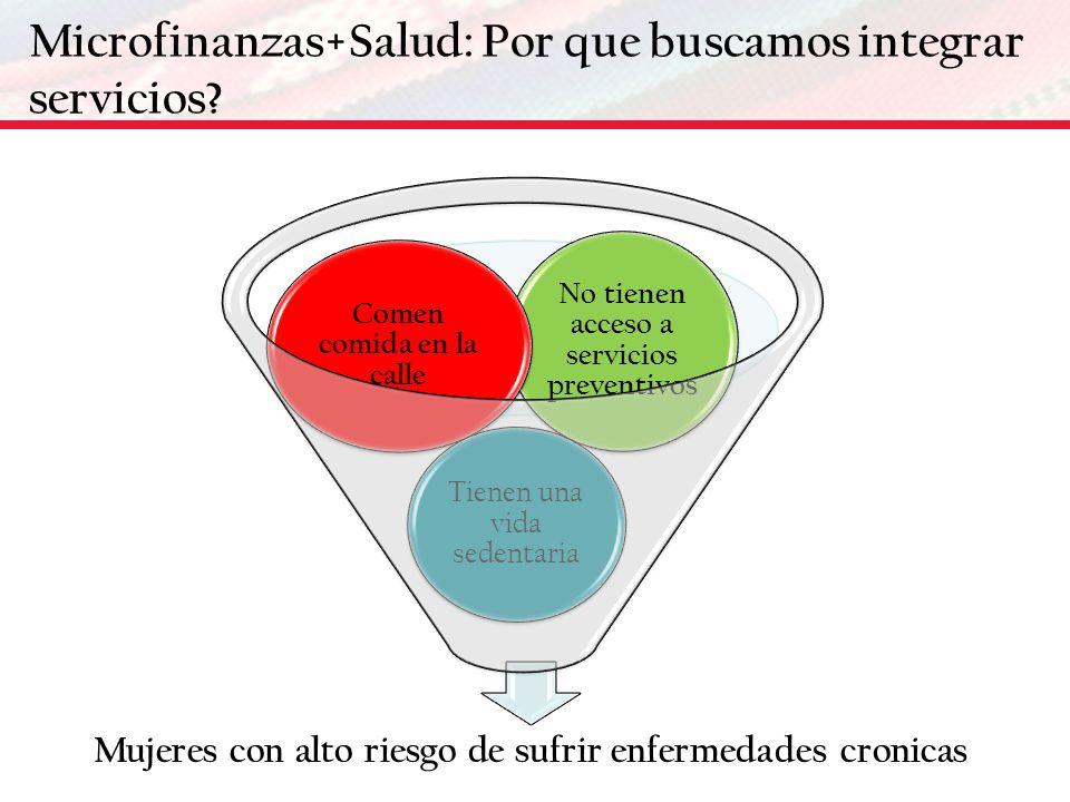 Microfinanzas+Salud: Por que buscamos integrar servicios? No tienen acceso a servicios preventivos Comen comida en la calle Tienen una vida sedentaria