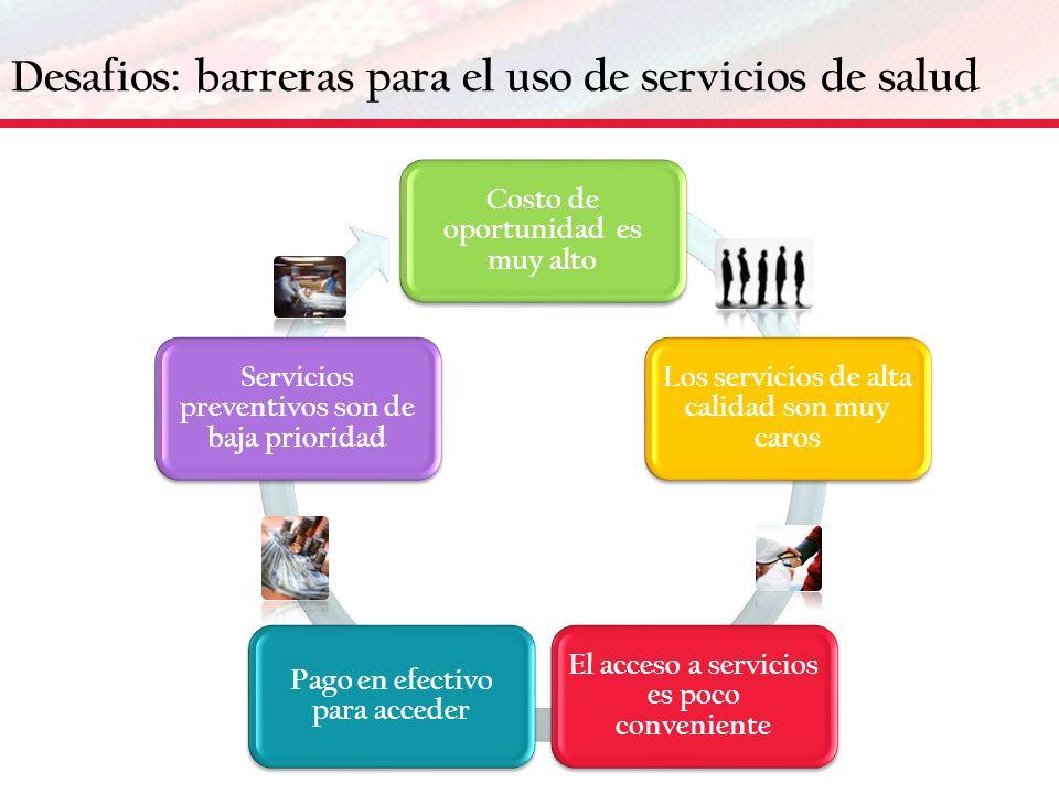Desafios: barreras para el uso de servicios de salud Costo de oportunidad es muy alto Los servicios de alta calidad son muy caros El acceso a servicio