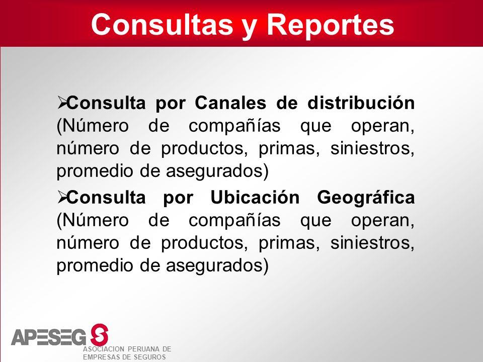 ASOCIACION PERUANA DE EMPRESAS DE SEGUROS Consultas y Reportes Consulta por Canales de distribución (Número de compañías que operan, número de product