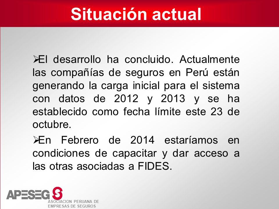 ASOCIACION PERUANA DE EMPRESAS DE SEGUROS Situación actual El desarrollo ha concluido. Actualmente las compañías de seguros en Perú están generando la