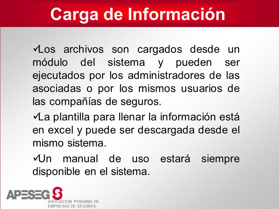 ASOCIACION PERUANA DE EMPRESAS DE SEGUROS Carga de Información Los archivos son cargados desde un módulo del sistema y pueden ser ejecutados por los a