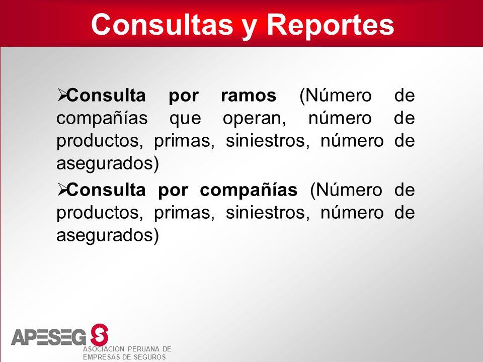 ASOCIACION PERUANA DE EMPRESAS DE SEGUROS Consultas y Reportes Consulta por ramos (Número de compañías que operan, número de productos, primas, sinies