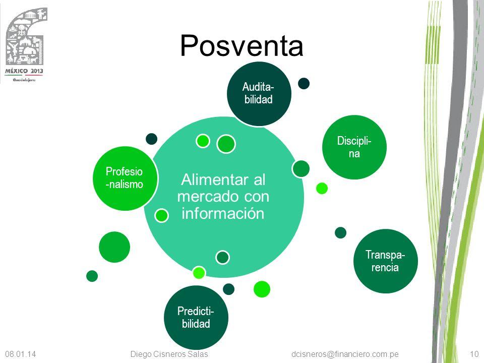 Posventa Alimentar al mercado con información Profesio -nalismo Discipli- na Transpa- rencia Predicti- bilidad Audita- bilidad 08.01.14Diego Cisneros