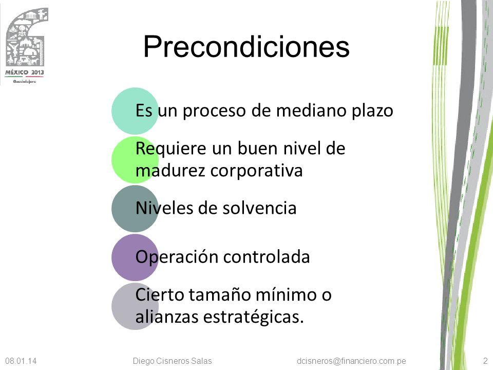 Precondiciones Es un proceso de mediano plazo Requiere un buen nivel de madurez corporativa Niveles de solvencia Operación controlada Cierto tamaño mí