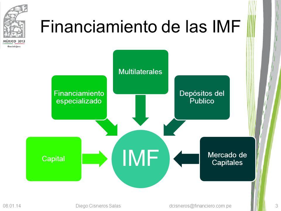 Financiamiento de las IMF Financiamiento especializado Es la primera fuente a la que se recurre para apalancar la operación de la IMF Usualmente se ofrece en condiciones competitivas sin embargo paga una prima de riesgo elevado.