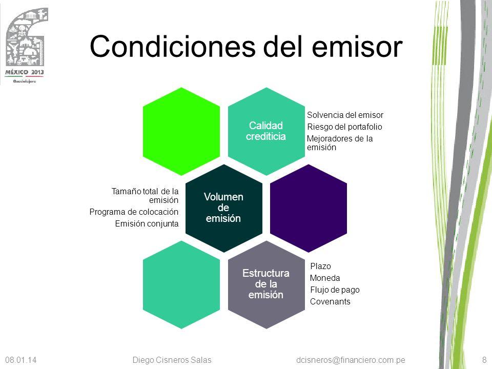 Condiciones del emisor Calidad crediticia Solvencia del emisor Riesgo del portafolio Mejoradores de la emisión Volumen de emisión Tamaño total de la e