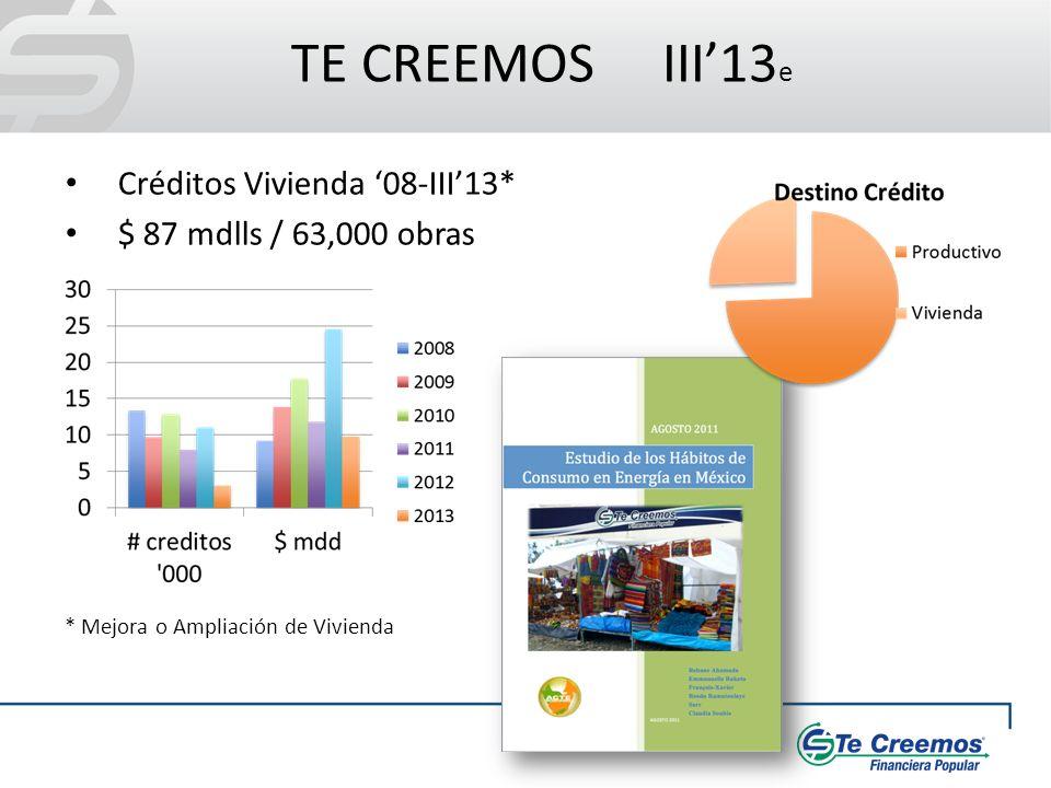TE CREEMOS III13 e Créditos Vivienda 08-III13* $ 87 mdlls / 63,000 obras * Mejora o Ampliación de Vivienda