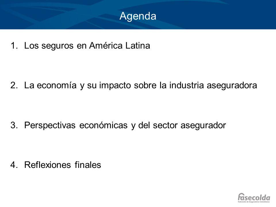 Agenda 1.Los seguros en América Latina 2.La economía y su impacto sobre la industria aseguradora 3.Perspectivas económicas y del sector asegurador 4.R