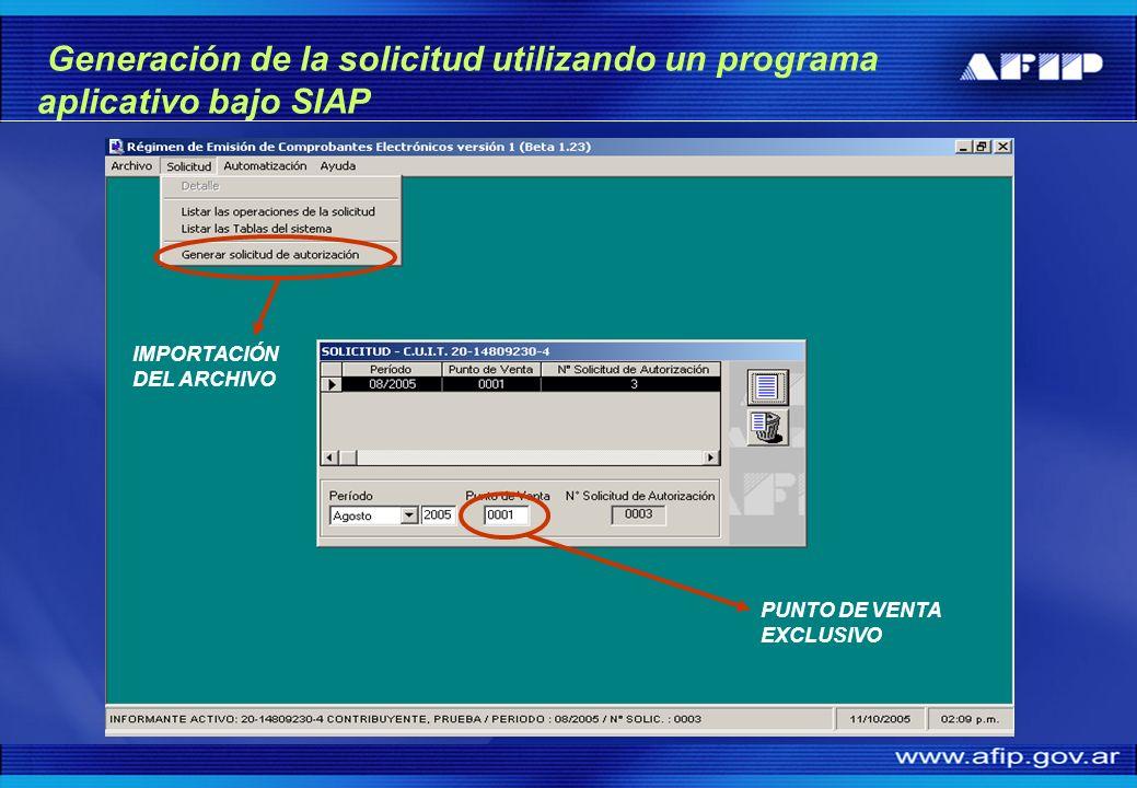 PUNTO DE VENTA EXCLUSIVO IMPORTACIÓN DEL ARCHIVO Generación de la solicitud utilizando un programa aplicativo bajo SIAP