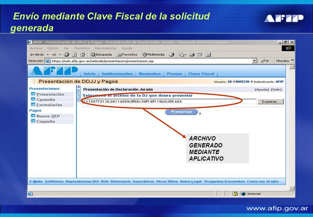 Envío mediante Clave Fiscal de la solicitud generada ARCHIVO GENERADO MEDIANTE APLICATIVO
