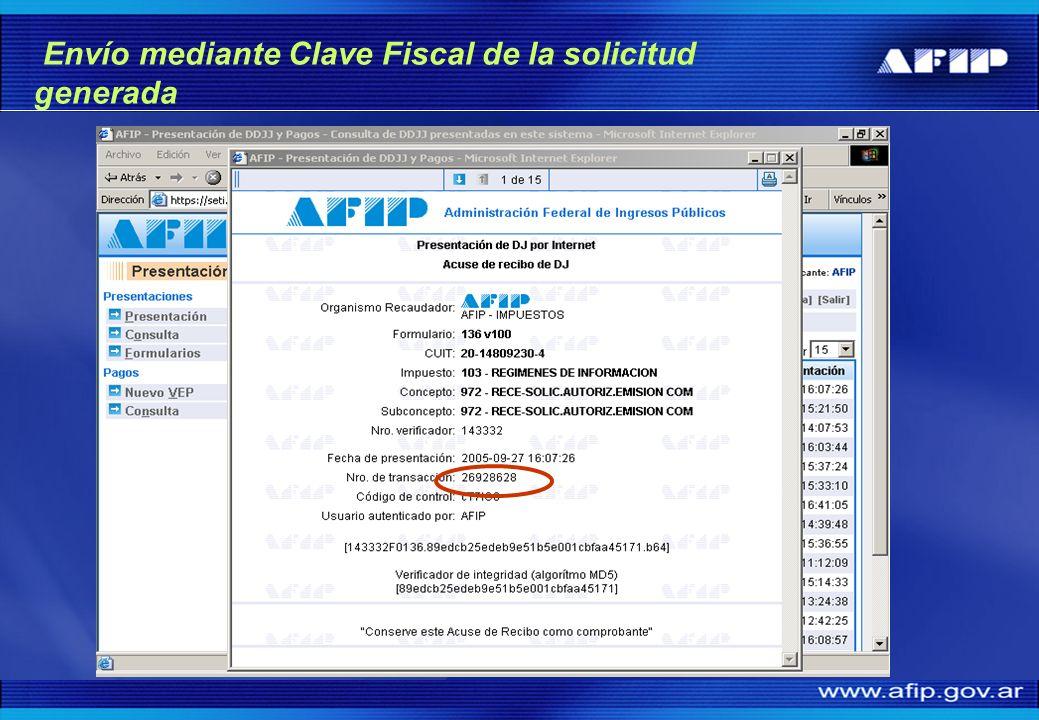Envío mediante Clave Fiscal de la solicitud generada