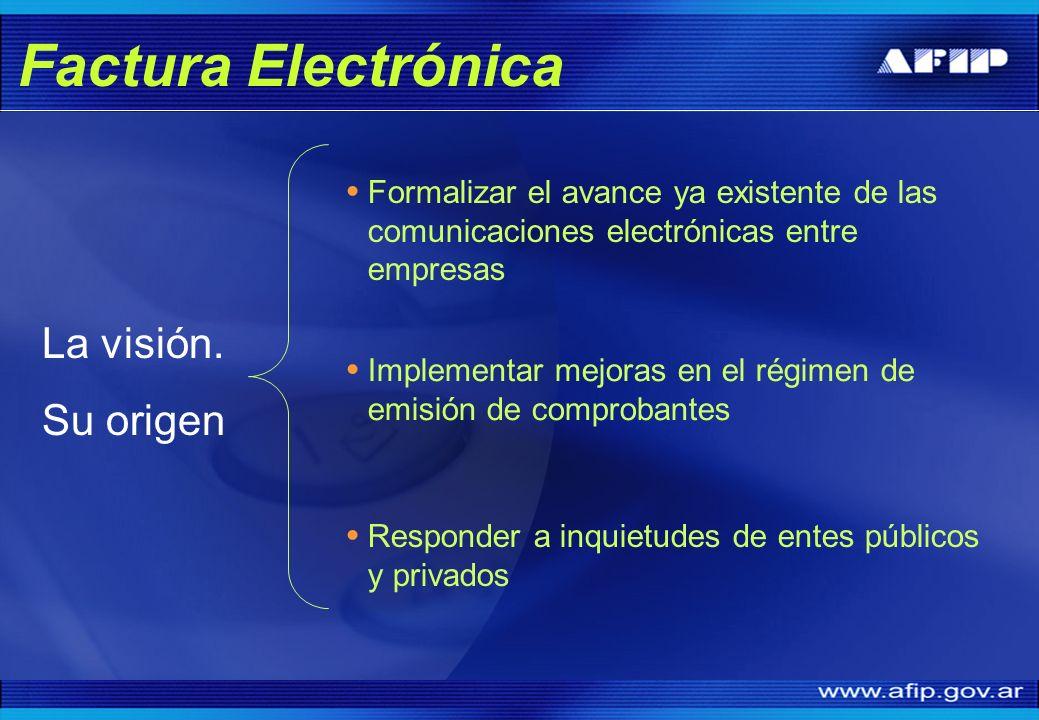 Formalizar el avance ya existente de las comunicaciones electrónicas entre empresas La visión. Su origen Implementar mejoras en el régimen de emisión
