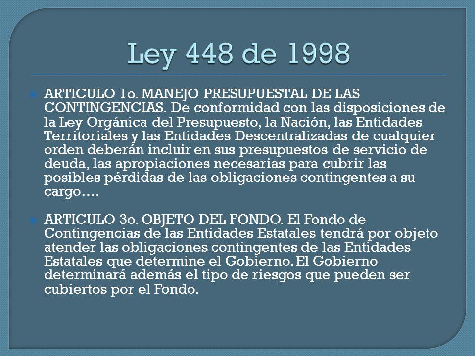 ARTICULO 1o. MANEJO PRESUPUESTAL DE LAS CONTINGENCIAS. De conformidad con las disposiciones de la Ley Orgánica del Presupuesto, la Nación, las Entidad