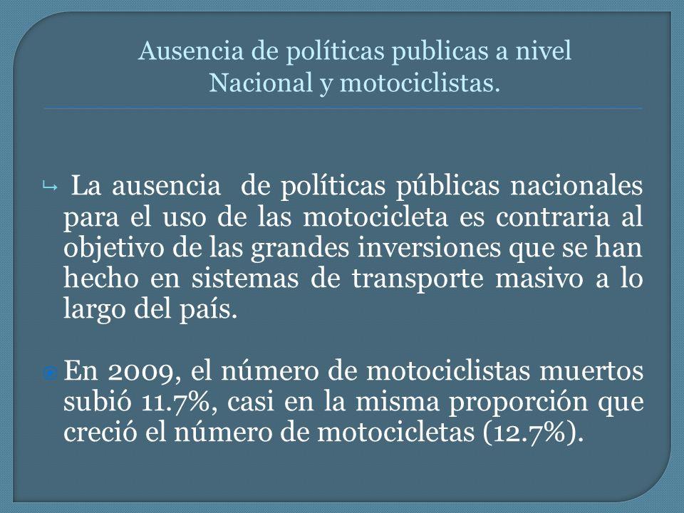 La ausencia de políticas públicas nacionales para el uso de las motocicleta es contraria al objetivo de las grandes inversiones que se han hecho en si