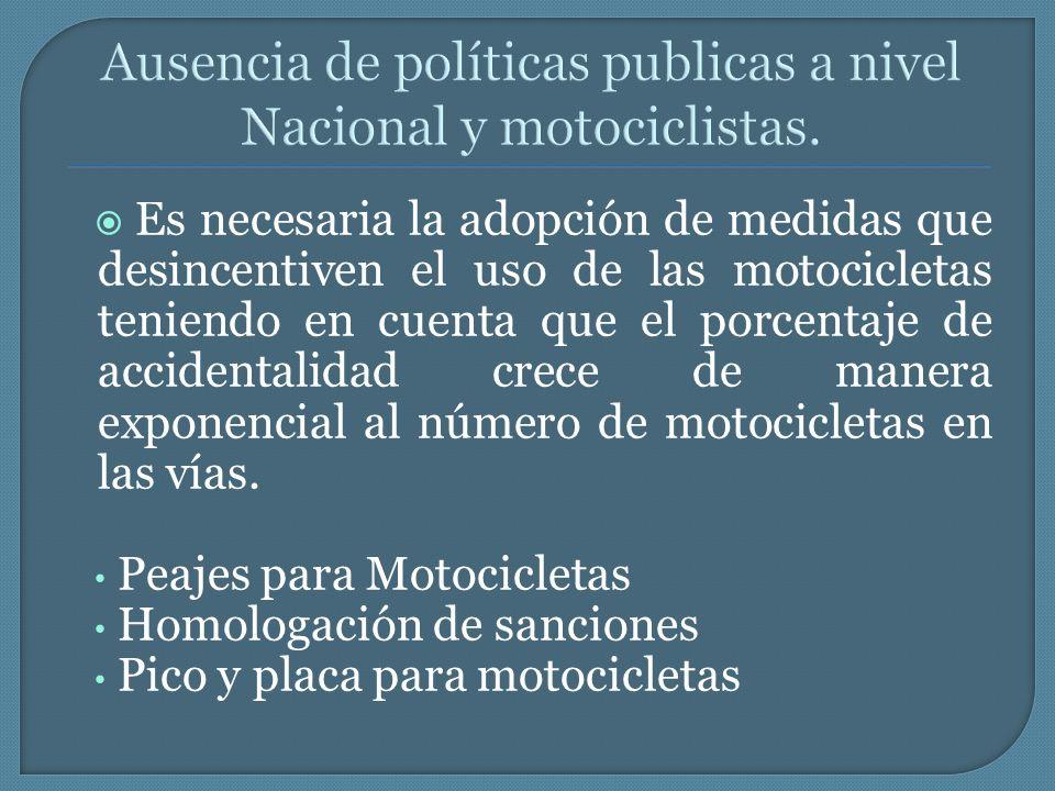 Es necesaria la adopción de medidas que desincentiven el uso de las motocicletas teniendo en cuenta que el porcentaje de accidentalidad crece de maner