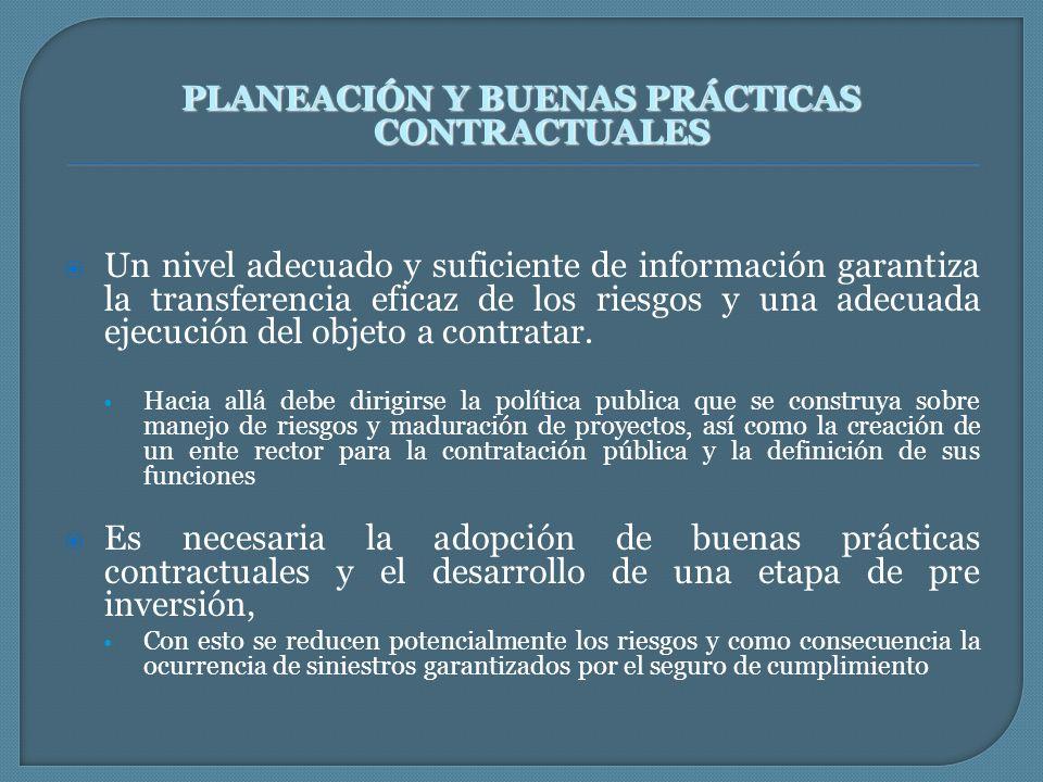 PLANEACIÓN Y BUENAS PRÁCTICAS CONTRACTUALES Un nivel adecuado y suficiente de información garantiza la transferencia eficaz de los riesgos y una adecu