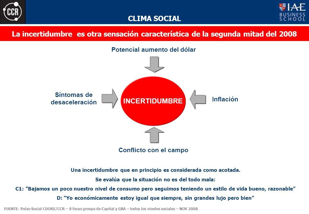 CLIMA SOCIAL Inflación La incertidumbre es otra sensación característica de la segunda mitad del 2008 INCERTIDUMBRE Una incertidumbre que en principio es considerada como acotada.